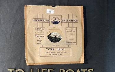 OCEAN LINER: Brass 'To The Lifeboats' sign, 20ins. Plus a 78...