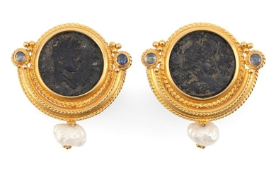 PAIR OF 18KT GOLD, BRONZE COIN, FRESHWATER PEARL AND SAPPHIRE EARRINGS