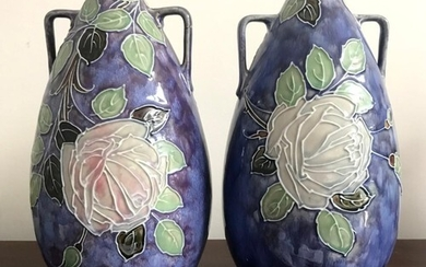 PAIR OF ROYAL DOULTON 'ENGLAND' VASES, IMPRESSED 7816G, APPR...