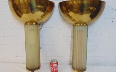Pair art deco wall sconces, brass bowl over frosted