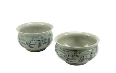 Pair of Chinese Blue and White Porcelain Fish Bowls.