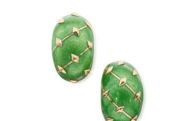 Pair of Gold and Enamel 'Paillonné' Earclips, France, Schlumberger for Tiffany & Co.