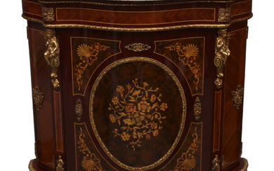 Pair of Napoleon III style cabinets in marquetry and bronze, second half of the 20th Century.