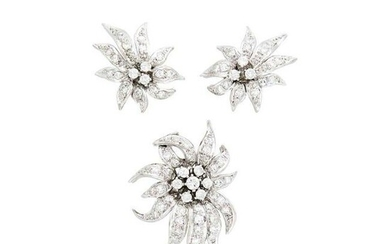 Pair of Platinum and Diamond Flower Earclips and 'En