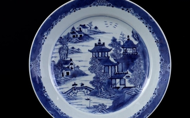 (-), Porcelain dish with blue decor of houses...
