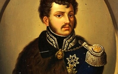 Portrait of a Prussian Officer Oil on Tin