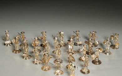 Set Chinese sterling figural place card holders