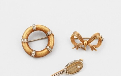 THREE DIAMOND, PEARL AND GOLD BROOCHES
