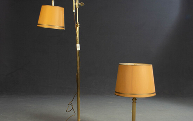 Table and floor lamp, brass (2).