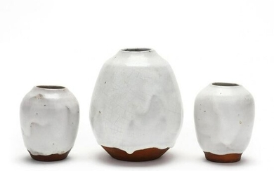 Three Pieces Chinese White Glazed Pottery, Jugtown (NC)