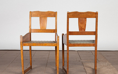 Two Art Nouveau children's chairs / chairs, wood (2).