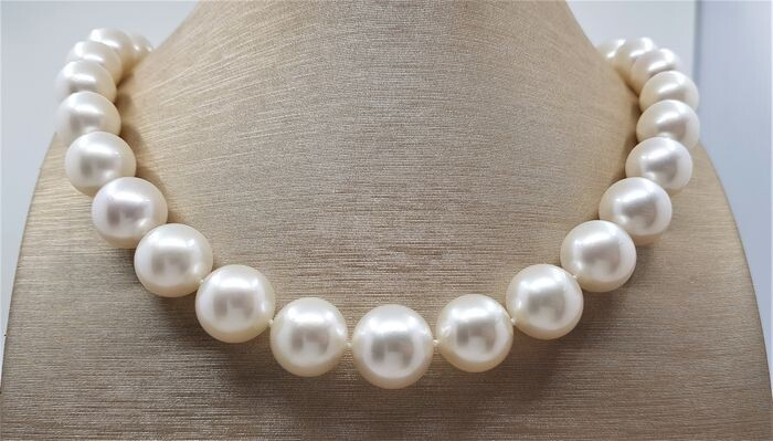 United Pearl - 12.2x15.2mm Round Australian South Sea Pearls Steel - Necklace