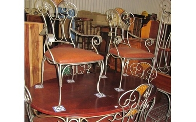 Unusual and Stylish Mahogany Topped Metal Legged Dining Tabl...