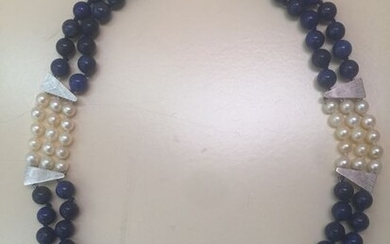 White gold - Necklace Pearls