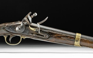 18th C. French Dragoon Wood & Brass Flintlock Pistol
