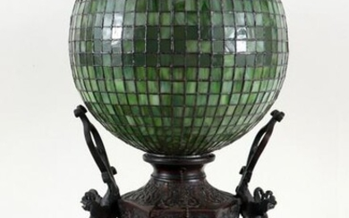 19TH C. ASIAN BRONZE VASE MOUNTED AS TABLE LAMP