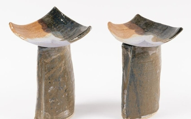 2 Ceramic Abstract Sculptures
