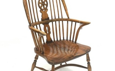 20th century elm Windsor chair, hoop and spindle back...