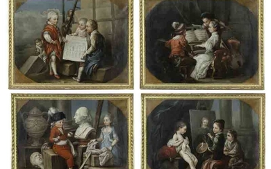 (4) French allegorical oil on canvas paintings