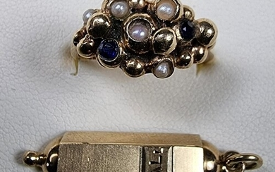 A 9ct gold sapphire and pearl ring and a 14k gold prayer pen...