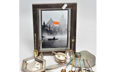 A BOX OF ASSORTED SILVER ITEMS, to include a plain polished,...