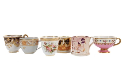 A COLLECTION OF TEN LATE 18TH TO MID-19TH CENTURY ENGLISH TEACUPS, ALONG WITH TWO COFFEE CANS