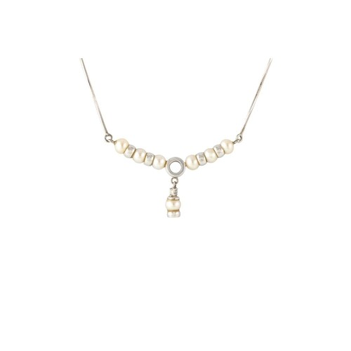 A CULTURED PEARL AND DIAMOND SET PENDANT, mounted in 18ct go...