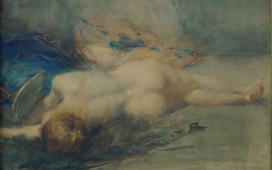 A Callet, French School, mid-late 20th century- Reclining female nude; watercolour and pastel on paper, signed, 22.5 x 30.5 cm