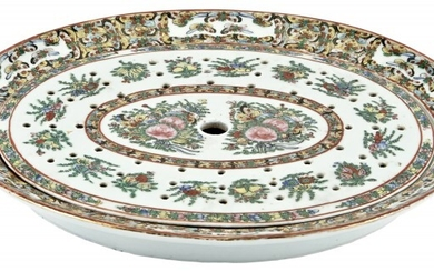 A Chinese Rose Enameled 'Sacred Bird and Butterfly' Mazarine