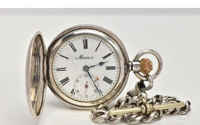 A FULL HUNTER POCKET WATCH WITH ALBERT CHAIN, round white di...