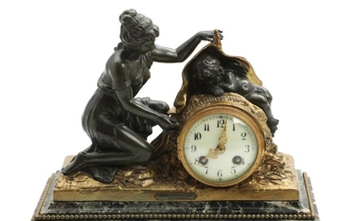 A French gilt and patinated bronze figural mantel clock by Ferville-Suan. C. 1900. H. 28. W. 33 cm. – Bruun Rasmussen Auctioneers of Fine Art