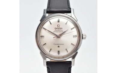 A GENT'S AUTOMATIC OMEGA CONSTELLATION WRISTWATCH, round sil...