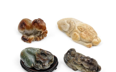 A GROUP OF FOUR JADE ANIMAL CARVINGS