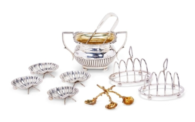 A GROUP OF SILVER DINING WARE ITEMS, VARIOUS DATES AND MAKERS