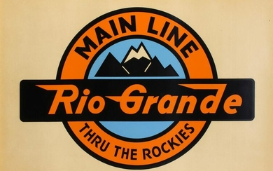 A LARGE PRINTED CARDSTOCK LOGO FOR THE RIO GRANDE RR