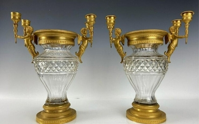 A PAIR OF EMPIRE STYLE DORE BRONZE AND BACCARAT VASES