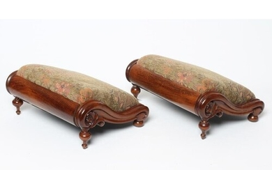 A PAIR OF VICTORIAN WALNUT SHOW FRAME FOOTSTOOLS of sloping ...
