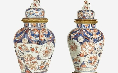 A Pair of Gilt-Bronze Mounted Imari Covered Jars 18th