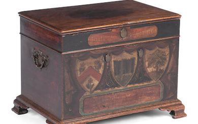 A RARE SCOTTISH GEORGE III PAINTED MAHOGANY MONEY CHEST, DATED 15TH JULY 1768