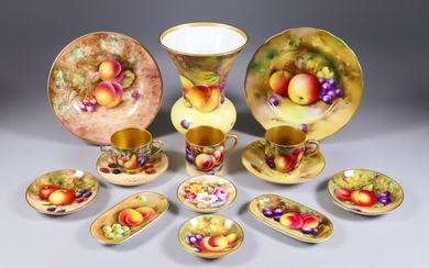 A Small Collection of Royal Worcester Bone China Painted...