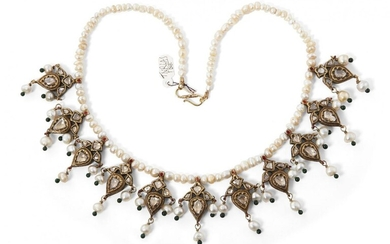 A fine Mughal diamond and natural pearl-set gold necklace, Jaipur,19th century, composed of a series of eleven flower shaped gold elements each set with diamonds and with pearls suspensions, on a string of natural pearls, the reverse with red...