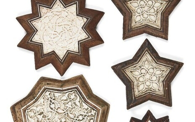 A group of 20th century carved bone inlaid wood panels in the Mamluk style, 10.8cm., 11.6cm., 11.6cm., 15cm. and 17.6cm. high (5) Provenance: Private collection of Oliver Hoare 1945-2018