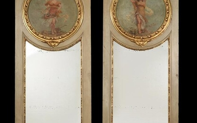 A pair of Continental grey painted and parcel gilt wall mirrors