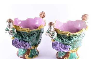 A pair of large and impressive majolica wine coolers, 19th c...