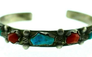 AMERICAN INDIAN Sterling Silver, Coral & Turquoise