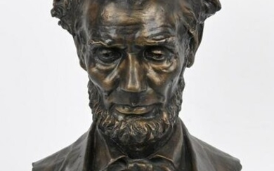 BRONZE ABRAHAM LINCOLN BUST, GEORGE BISSELL