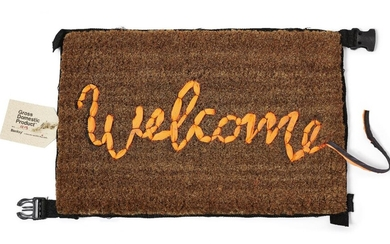 Banksy, (British b.1974) Welcome Mat, 2020; Hand-stitched mat in fabric...