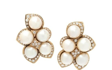 CULTURED PEARL AND DIAMOND EARCLIPS