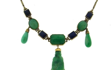 Carved JADE LAPIS LAZULI YELLOW GOLD NECKLACE by