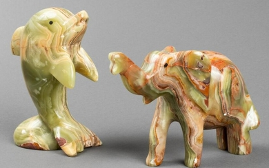 Carved Onyx Dolphin & Elephant Sculptures, 2